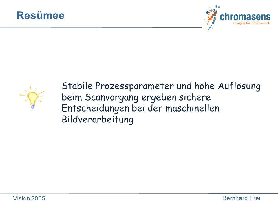 Bernhard Frei Vision 2005 Resümee Stabile Prozessparameter und hohe Auflösung beim Scanvorgang ergeben sichere Entscheidungen bei der maschinellen Bil