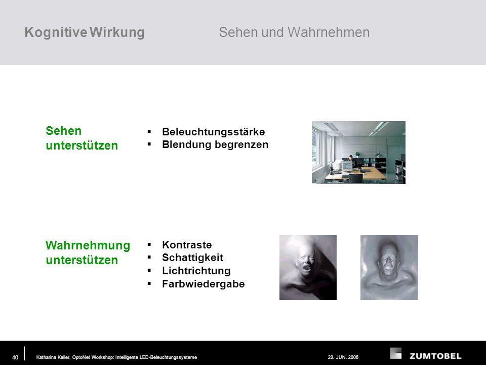 Katharina Keller, OptoNet Workshop: Intelligente LED-Beleuchtungssysteme29. JUN. 2006 39 Wirkung von Licht kognitivemotionalbiologisch sehen