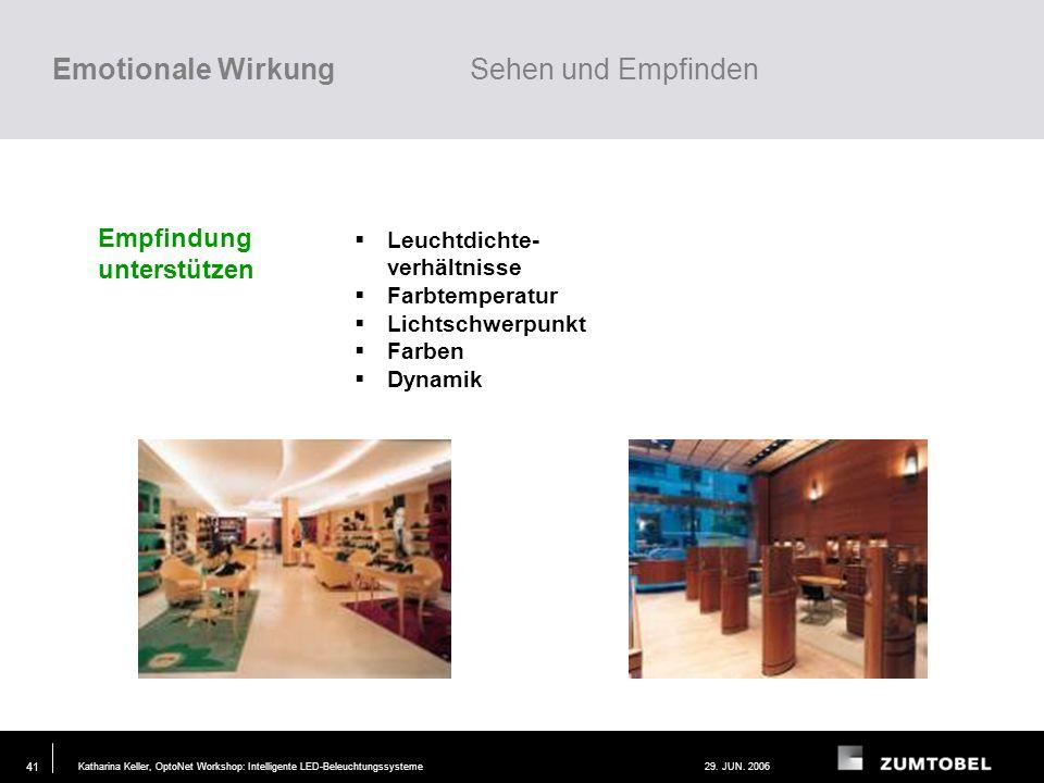 Katharina Keller, OptoNet Workshop: Intelligente LED-Beleuchtungssysteme29. JUN. 2006 40 Wahrnehmung unterstützen Kontraste Schattigkeit Lichtrichtung