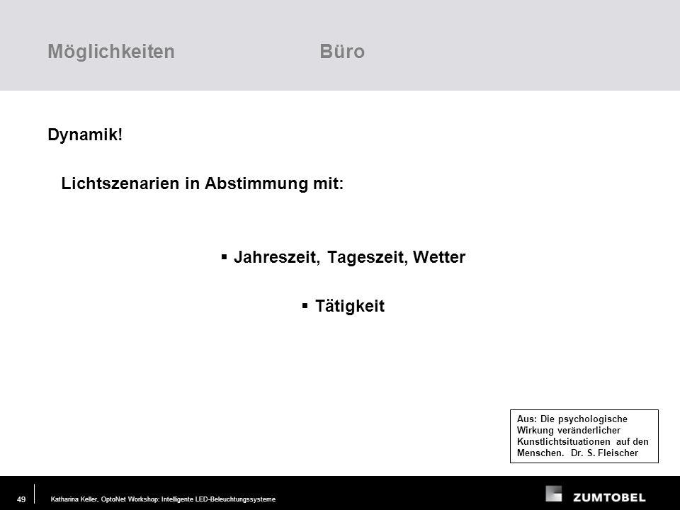 Katharina Keller, OptoNet Workshop: Intelligente LED-Beleuchtungssysteme29. JUN. 2006 48 300 lx 500 lx Aus: Die psychologische Wirkung veränderlicher