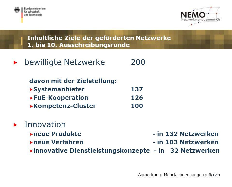 12 Inhaltliche Ziele der geförderten Netzwerke 1. bis 10.