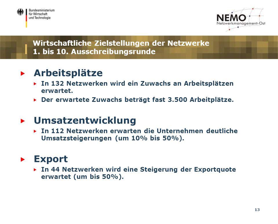 13 Wirtschaftliche Zielstellungen der Netzwerke 1.