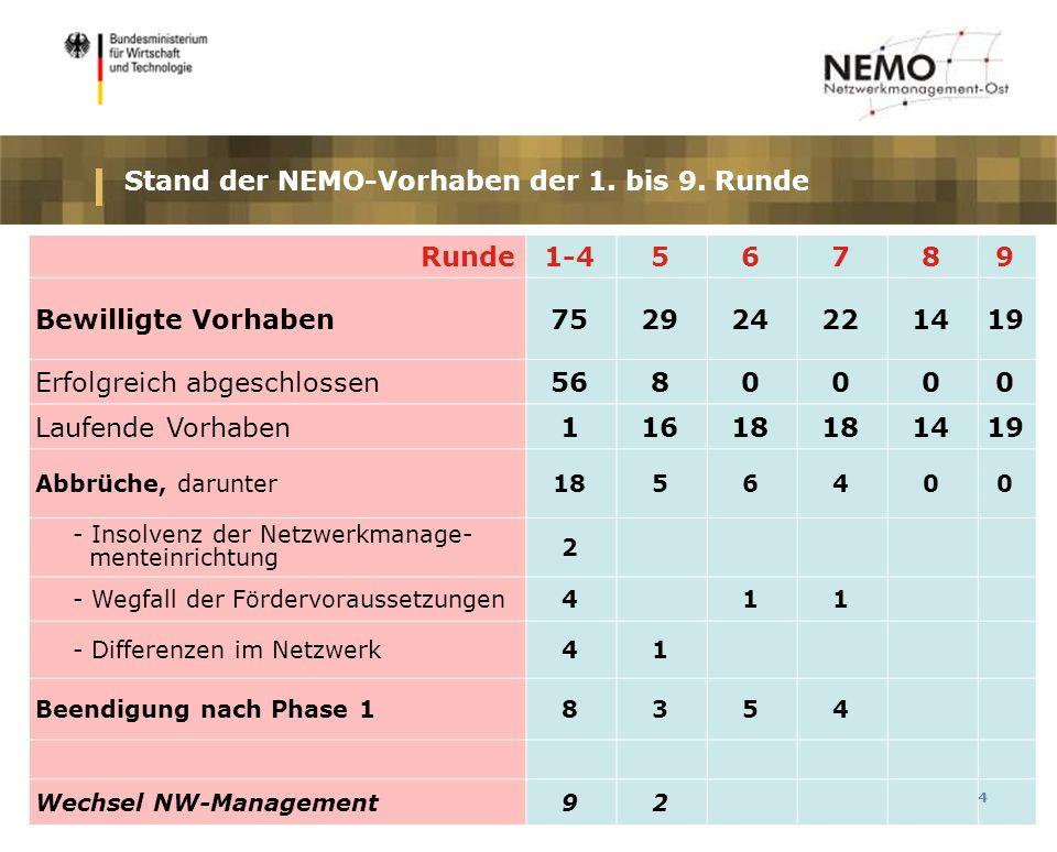4 Stand der NEMO-Vorhaben der 1. bis 9.