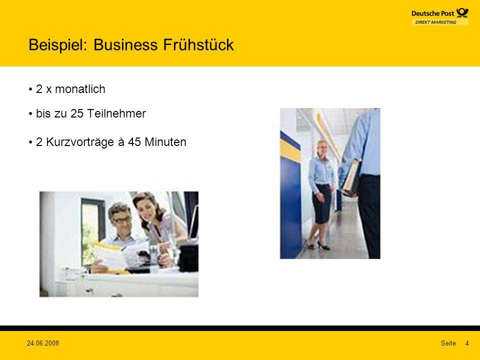 24.06.2008Seite4 Beispiel: Business Frühstück 2 x monatlich bis zu 25 Teilnehmer 2 Kurzvorträge à 45 Minuten