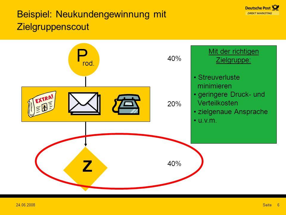 24.06.2008Seite6 Beispiel: Neukundengewinnung mit Zielgruppenscout Z P rod. 40% 20% 40% Mit der richtigen Zielgruppe: Streuverluste minimieren geringe