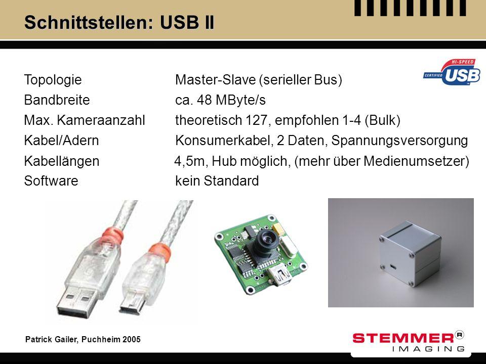 Patrick Gailer, Puchheim 2005 Schnittstellen: USB II Topologie Max. Kameraanzahl Kabel/Adern Kabellängen Software Master-Slave (serieller Bus) theoret