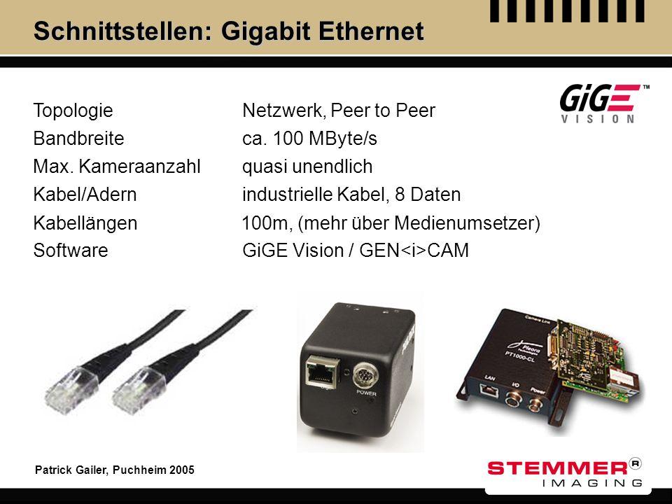 Patrick Gailer, Puchheim 2005 Schnittstellen: Gigabit Ethernet Topologie Max. Kameraanzahl Kabel/Adern Kabellängen Software Netzwerk, Peer to Peer qua