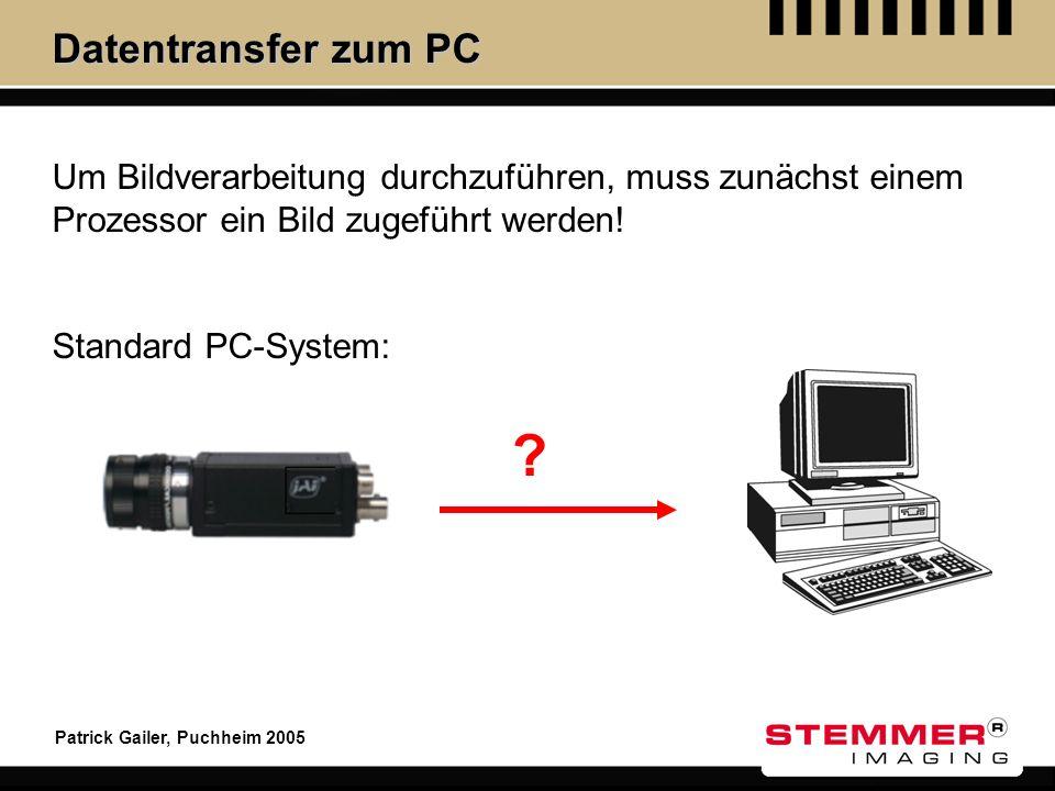 Patrick Gailer, Puchheim 2005 Datentransfer zum PC ? Um Bildverarbeitung durchzuführen, muss zunächst einem Prozessor ein Bild zugeführt werden! Stand