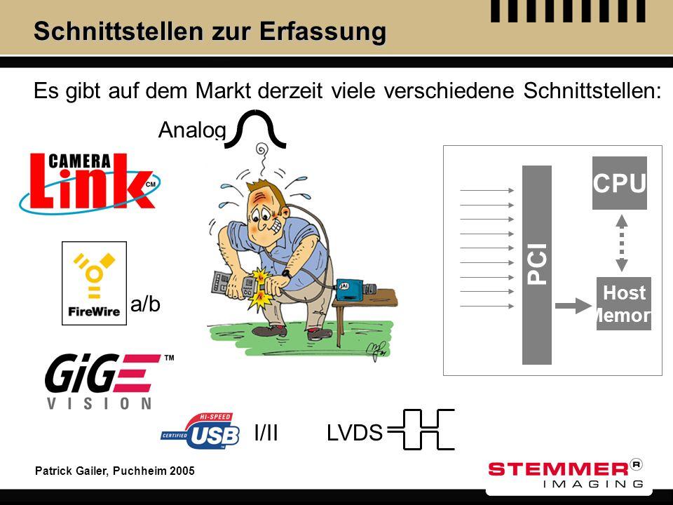 Patrick Gailer, Puchheim 2005 Schnittstellen zur Erfassung Es gibt auf dem Markt derzeit viele verschiedene Schnittstellen: Analog I/II a/b LVDS PCI C