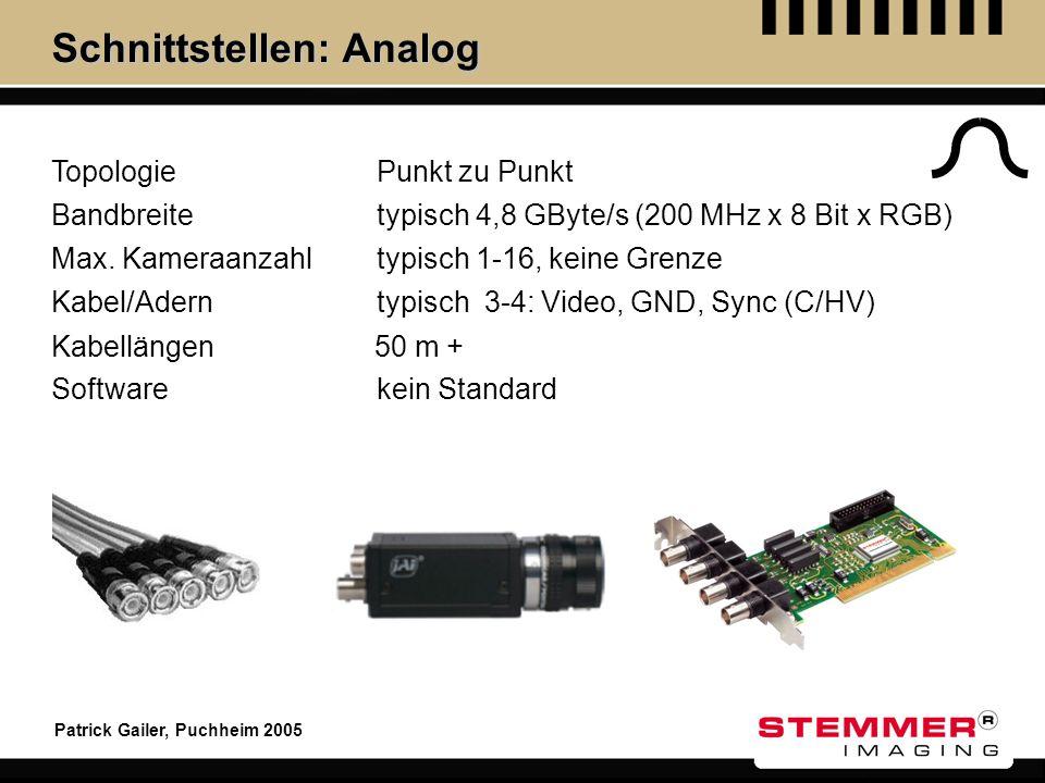 Patrick Gailer, Puchheim 2005 Schnittstellen: Analog Topologie Max. Kameraanzahl Kabel/Adern Kabellängen Software Punkt zu Punkt typisch 1-16, keine G