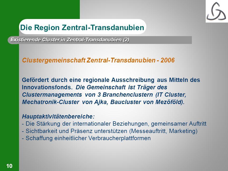 10 Clustergemeinschaft Zentral-Transdanubien - 2006 Gefördert durch eine regionale Ausschreibung aus Mitteln des Innovationsfonds. Die Gemeinschaft is