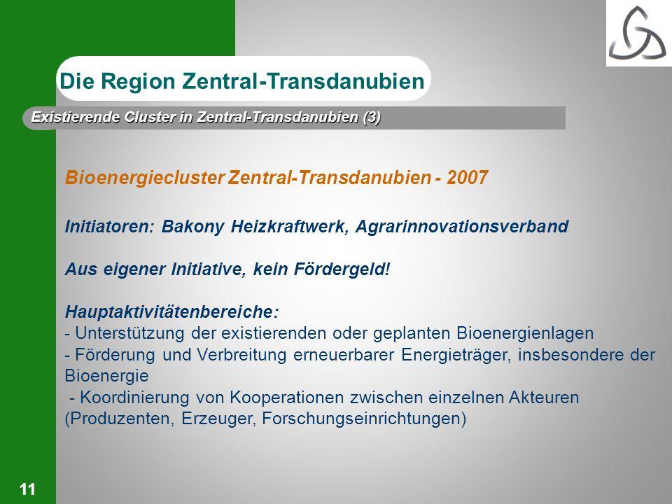 11 Bioenergiecluster Zentral-Transdanubien - 2007 Initiatoren: Bakony Heizkraftwerk, Agrarinnovationsverband Aus eigener Initiative, kein Fördergeld!