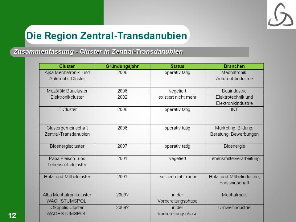 12 Die Region Zentral-Transdanubien ClusterGründungsjahrStatusBranchen Ajka Mechatronik- und Automobil-Cluster 2006operativ tätig Mechatronik, Automob