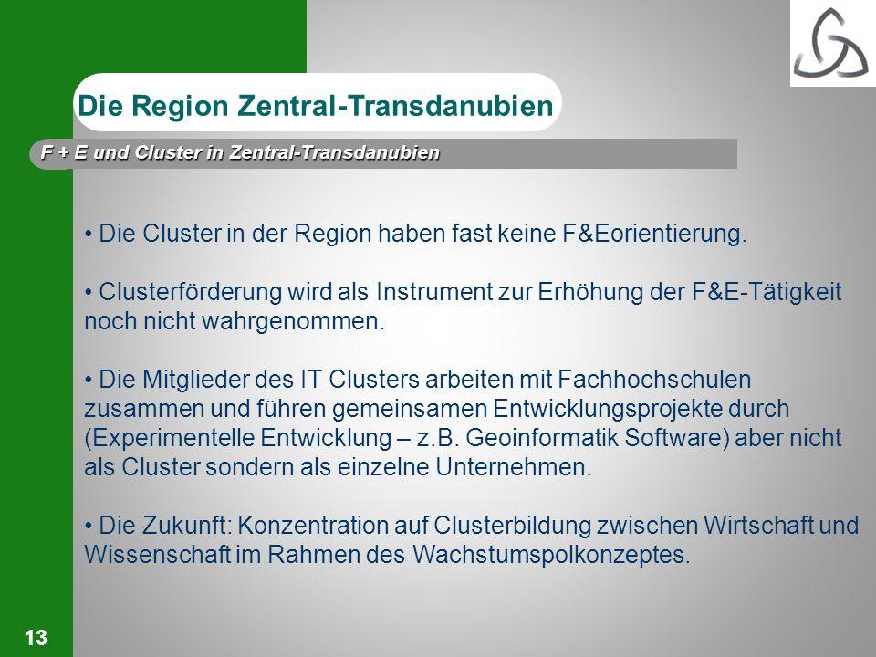 13 Die Cluster in der Region haben fast keine F&Eorientierung. Clusterförderung wird als Instrument zur Erhöhung der F&E-Tätigkeit noch nicht wahrgeno