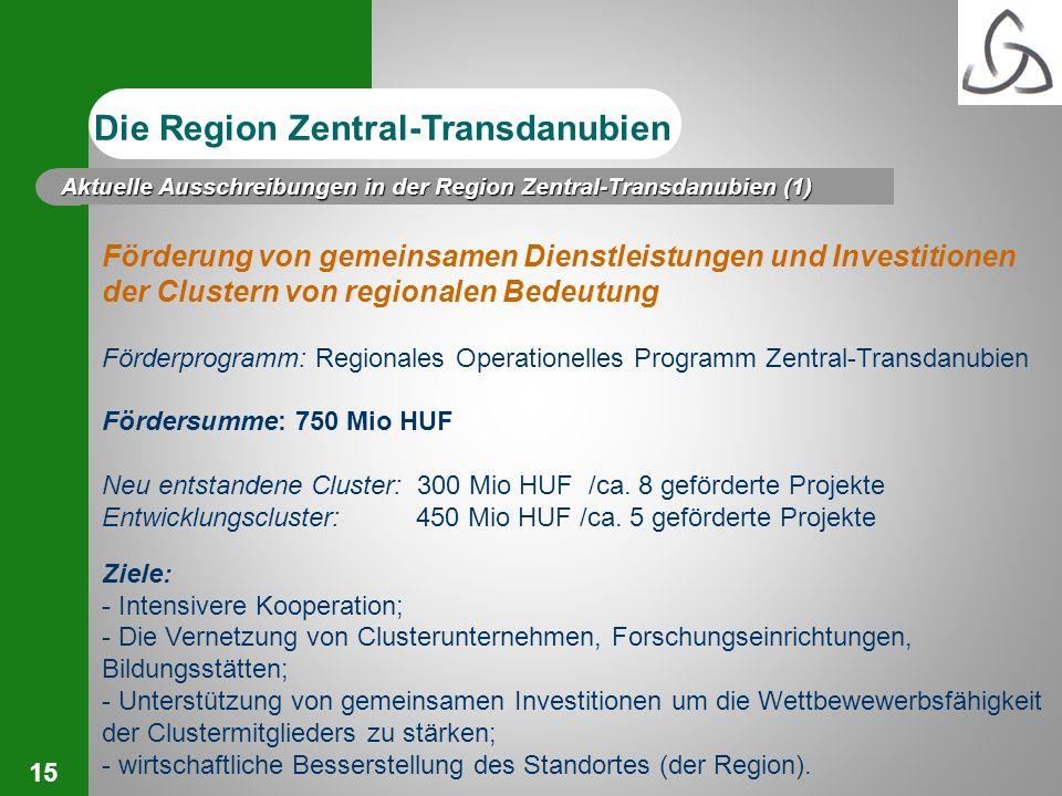 15 Förderung von gemeinsamen Dienstleistungen und Investitionen der Clustern von regionalen Bedeutung Förderprogramm: Regionales Operationelles Progra