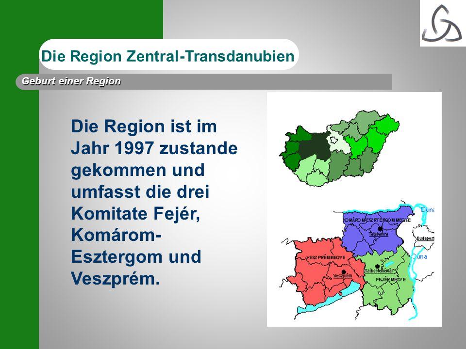 Die Region ist im Jahr 1997 zustande gekommen und umfasst die drei Komitate Fejér, Komárom- Esztergom und Veszprém. Die Region Zentral-Transdanubien G