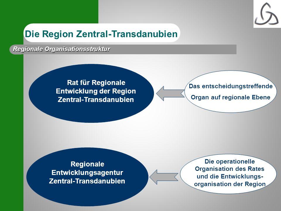 Die operationelle Organisation des Rates und die Entwicklungs- organisation der Region Das entscheidungstreffende Organ auf regionale Ebene Regionale