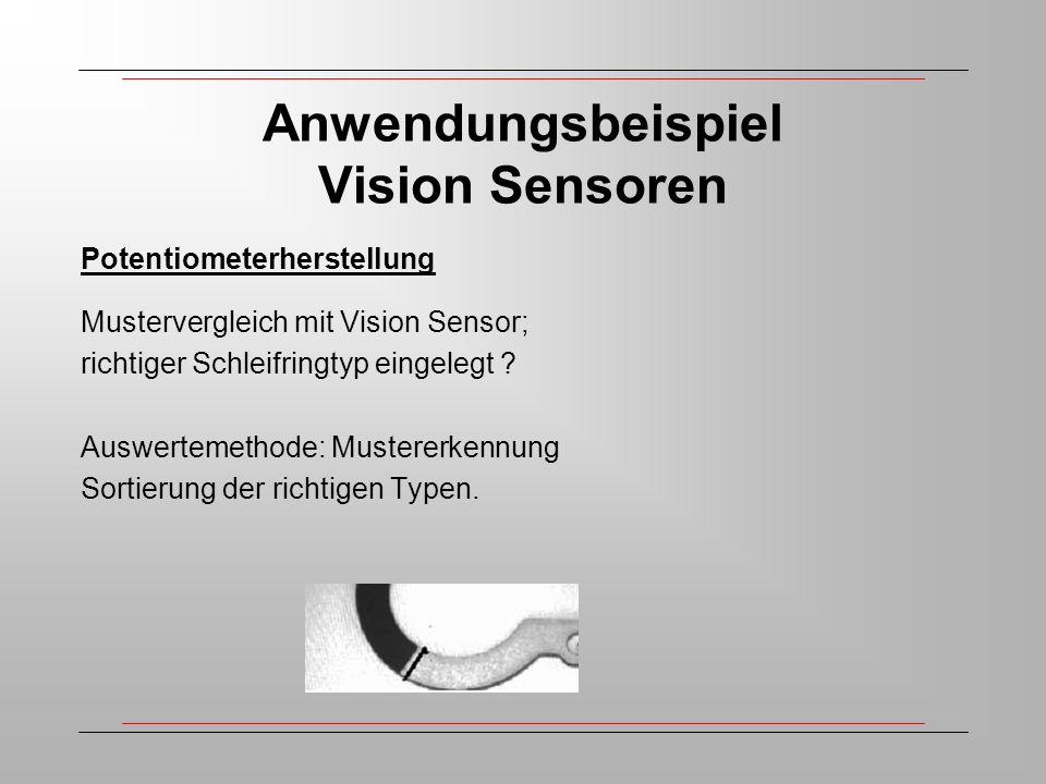 Anwendungsbeispiel Vision Sensoren Potentiometerherstellung Mustervergleich mit Vision Sensor; richtiger Schleifringtyp eingelegt .