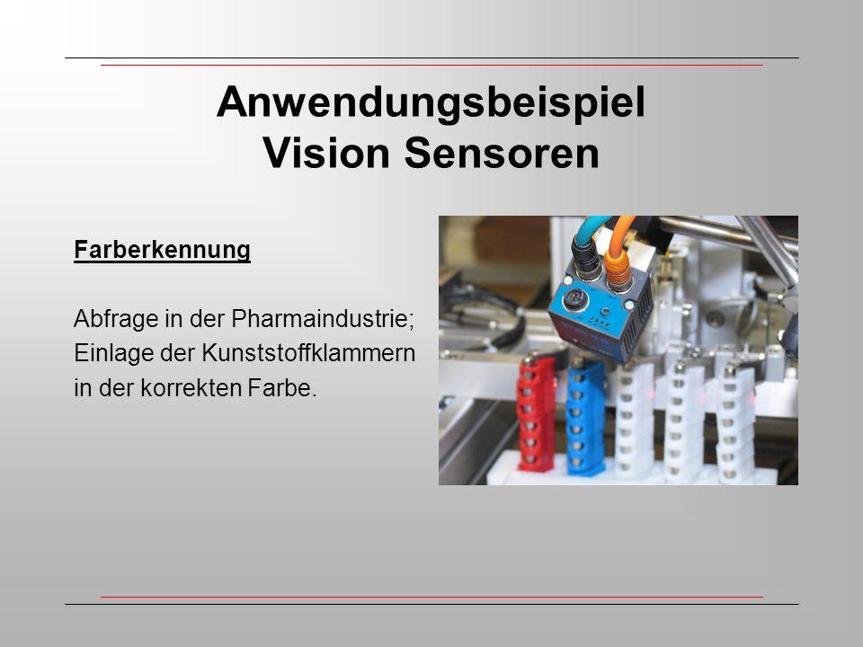 Anwendungsbeispiel Vision Sensoren Farberkennung Abfrage in der Pharmaindustrie; Einlage der Kunststoffklammern in der korrekten Farbe.