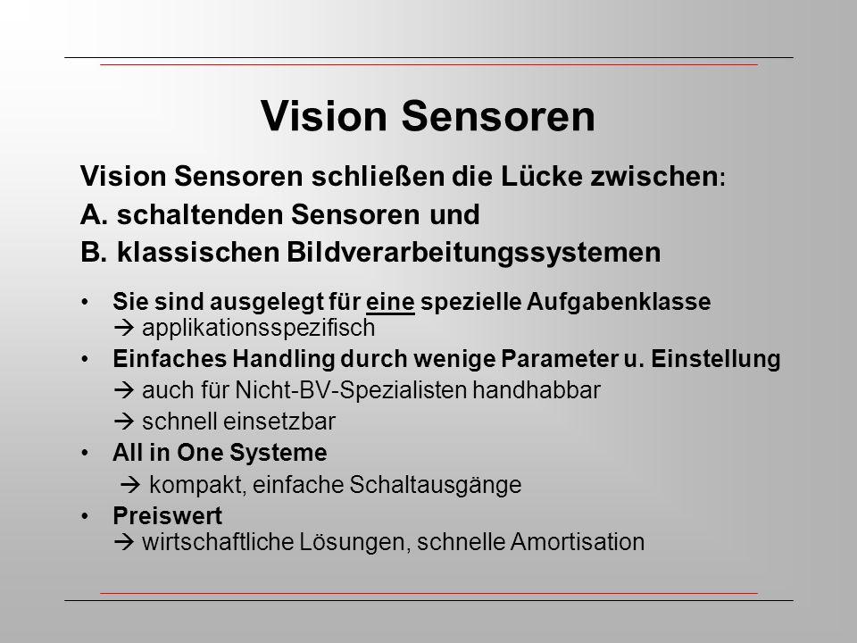 Vision Sensoren Vision Sensoren schließen die Lücke zwischen : A.