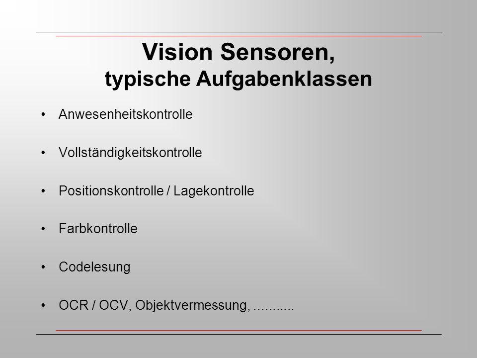 Vision Sensoren, typische Aufgabenklassen Anwesenheitskontrolle Vollständigkeitskontrolle Positionskontrolle / Lagekontrolle Farbkontrolle Codelesung OCR / OCV, Objektvermessung,...........