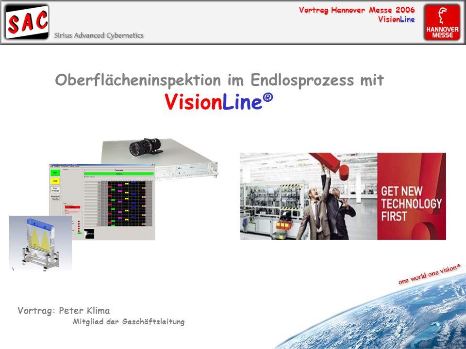 Vortrag Hannover Messe 2006 VisionLine Oberflächeninspektion im Endlosprozess mit VisionLine ® Vortrag: Peter Klima Mitglied der Geschäftsleitung