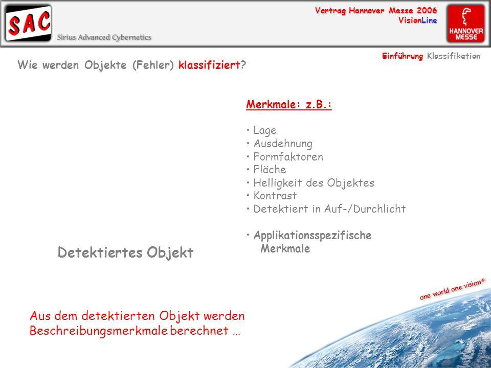 Vortrag Hannover Messe 2006 VisionLine Detektiertes Objekt Merkmale: z.B.: Lage Ausdehnung Formfaktoren Fläche Helligkeit des Objektes Kontrast Detekt
