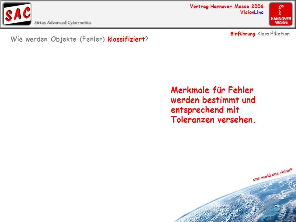 Vortrag Hannover Messe 2006 VisionLine Merkmale für Fehler werden bestimmt und entsprechend mit Toleranzen versehen. Wie werden Objekte (Fehler) klass