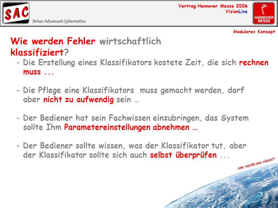 Vortrag Hannover Messe 2006 VisionLine Wie werden Fehler wirtschaftlich klassifiziert? - Die Erstellung eines Klassifikators kostete Zeit, die sich re