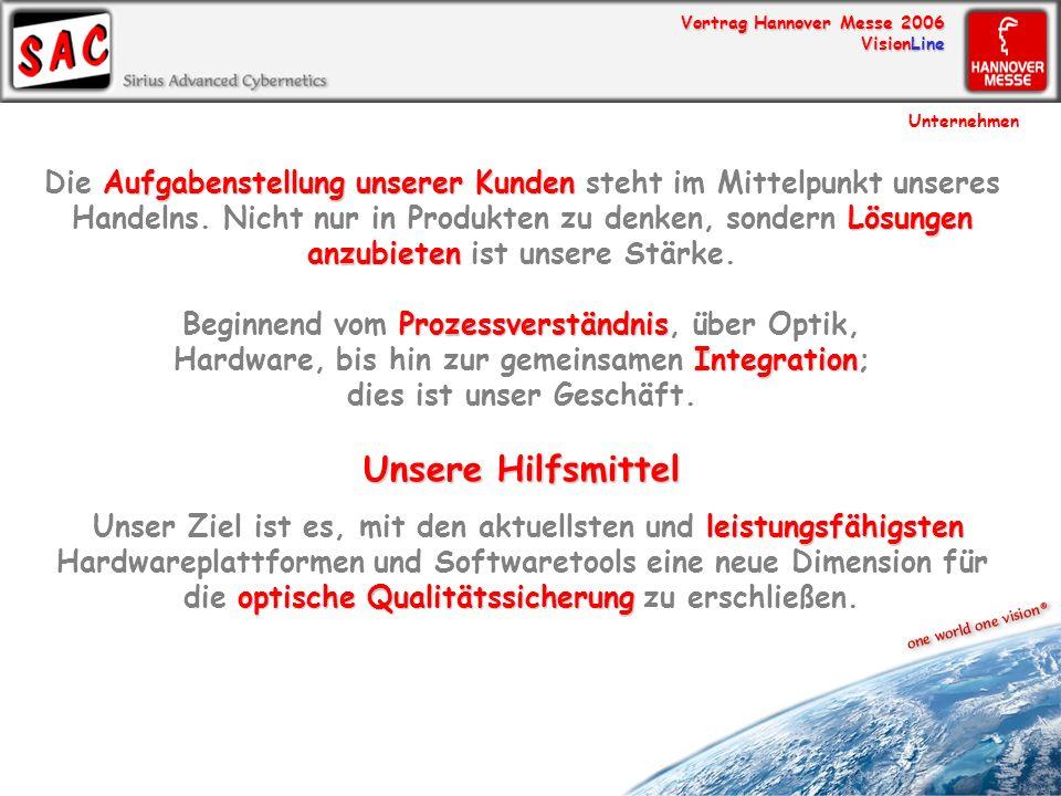 Vortrag Hannover Messe 2006 VisionLine Die SAC Expertise Unternehmen