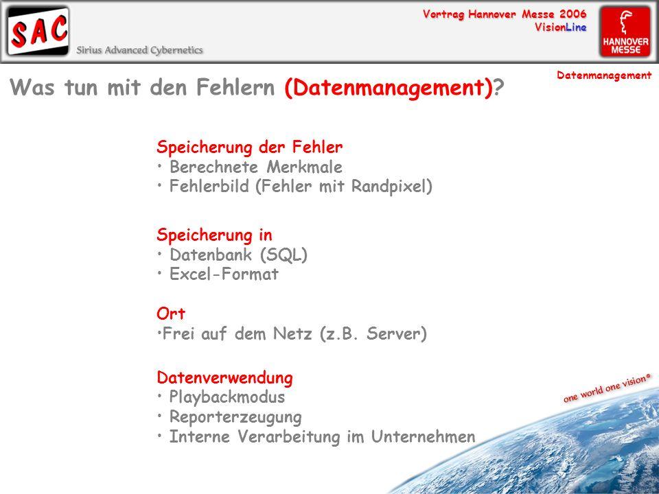 Vortrag Hannover Messe 2006 VisionLine Speicherung der Fehler Berechnete Merkmale Fehlerbild (Fehler mit Randpixel) Speicherung in Datenbank (SQL) Exc