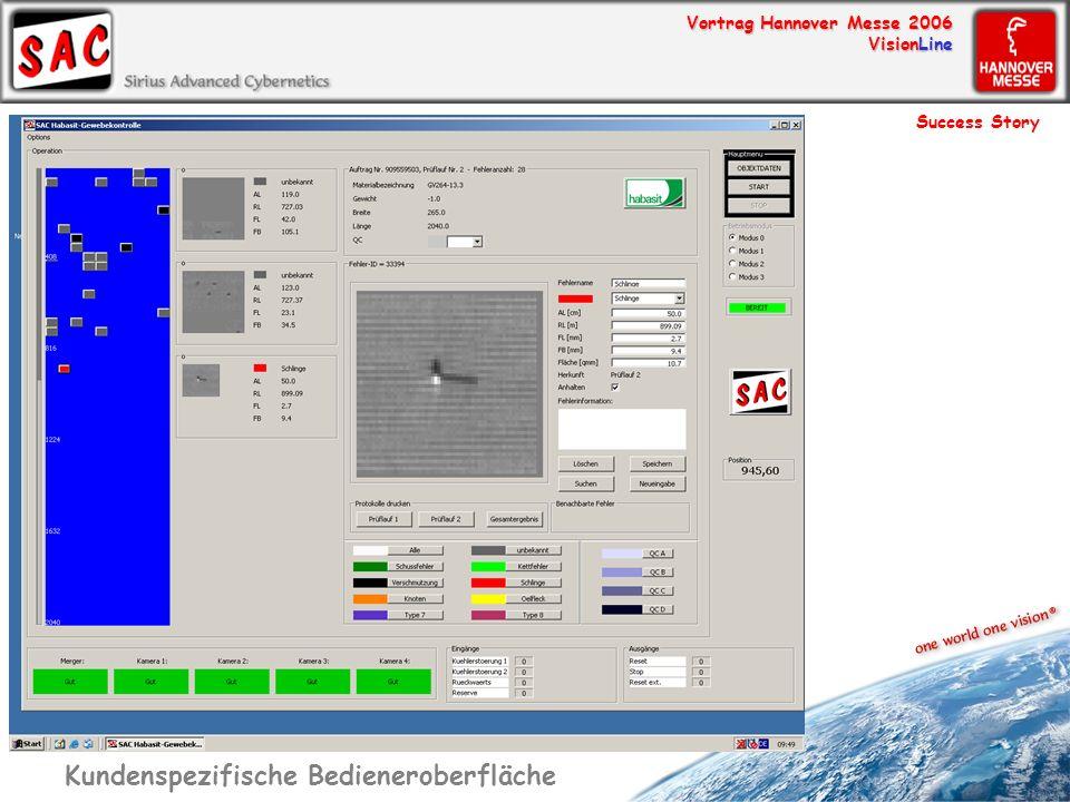 Vortrag Hannover Messe 2006 VisionLine Kundenspezifische Bedieneroberfläche Success Story