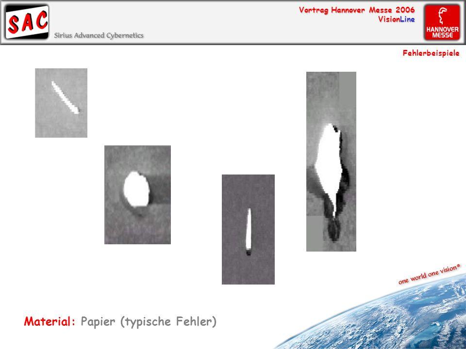 Vortrag Hannover Messe 2006 VisionLine Fehlerbeispiele Material: Papier (typische Fehler)