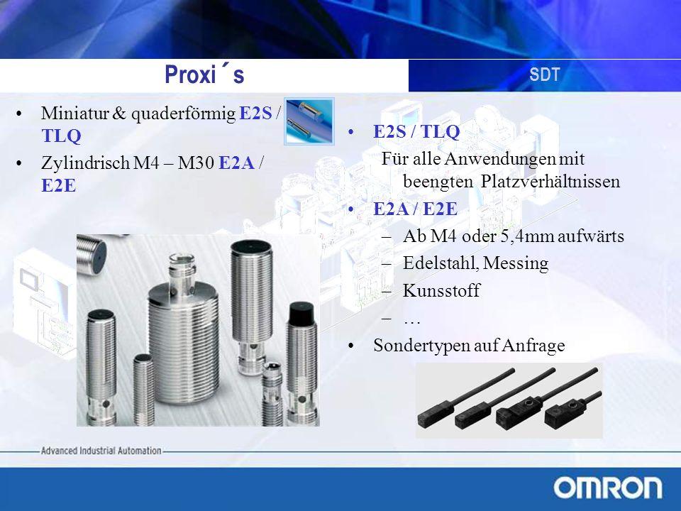 SDT Proxi´s Miniatur & quaderförmig E2S / TLQ Zylindrisch M4 – M30 E2A / E2E E2S / TLQ Für alle Anwendungen mit beengten Platzverhältnissen E2A / E2E