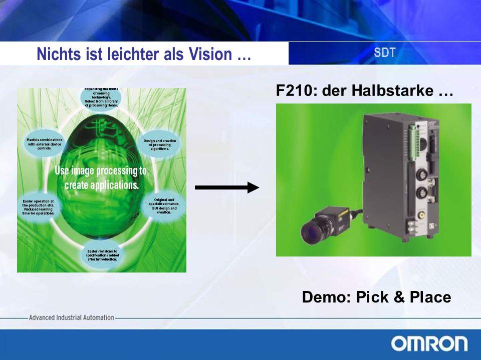 SDT Nichts ist leichter als Vision … Demo: Pick & Place F210: der Halbstarke …