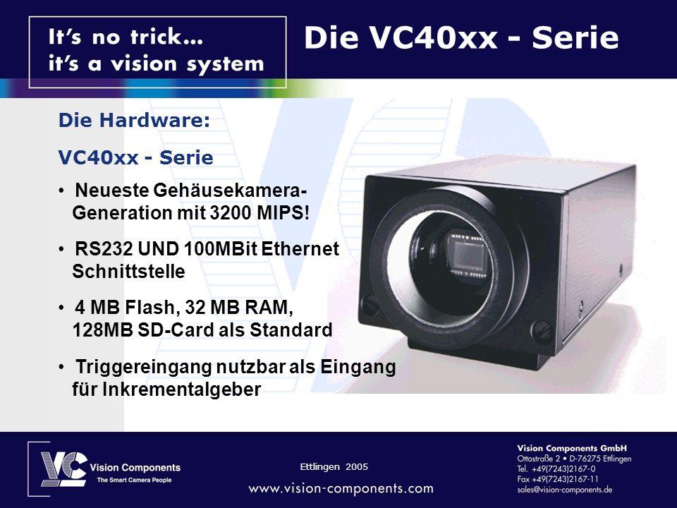 Ettlingen 2005 Die VC40xx - Serie Die Hardware: VC40xx - Serie Neueste Gehäusekamera- Generation mit 3200 MIPS! RS232 UND 100MBit Ethernet Schnittstel