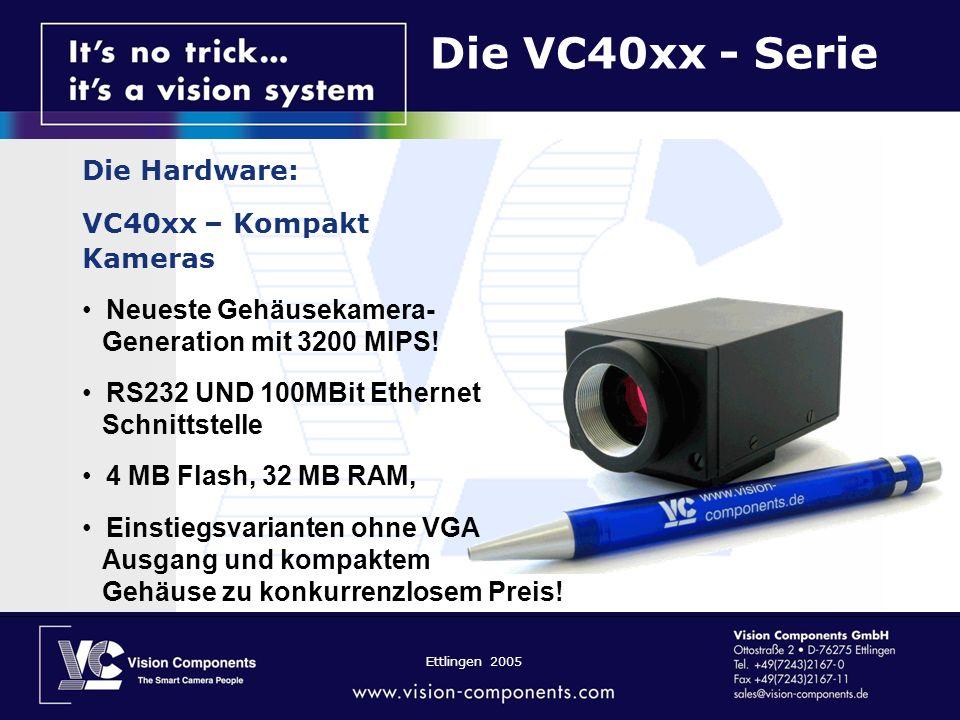 Ettlingen 2005 Die VC40xx - Serie Die Hardware: VC40xx – Kompakt Kameras Neueste Gehäusekamera- Generation mit 3200 MIPS! RS232 UND 100MBit Ethernet S
