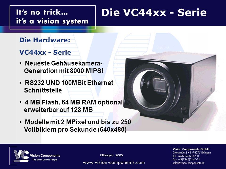 Ettlingen 2005 Die VC44xx - Serie Die Hardware: VC44xx - Serie Neueste Gehäusekamera- Generation mit 8000 MIPS! RS232 UND 100MBit Ethernet Schnittstel