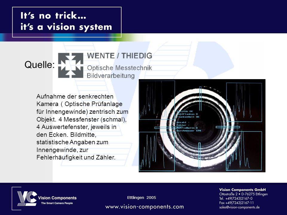 Ettlingen 2005 Quelle: Aufnahme der senkrechten Kamera ( Optische Prüfanlage für Innengewinde) zentrisch zum Objekt. 4 Messfenster (schmal), 4 Auswert