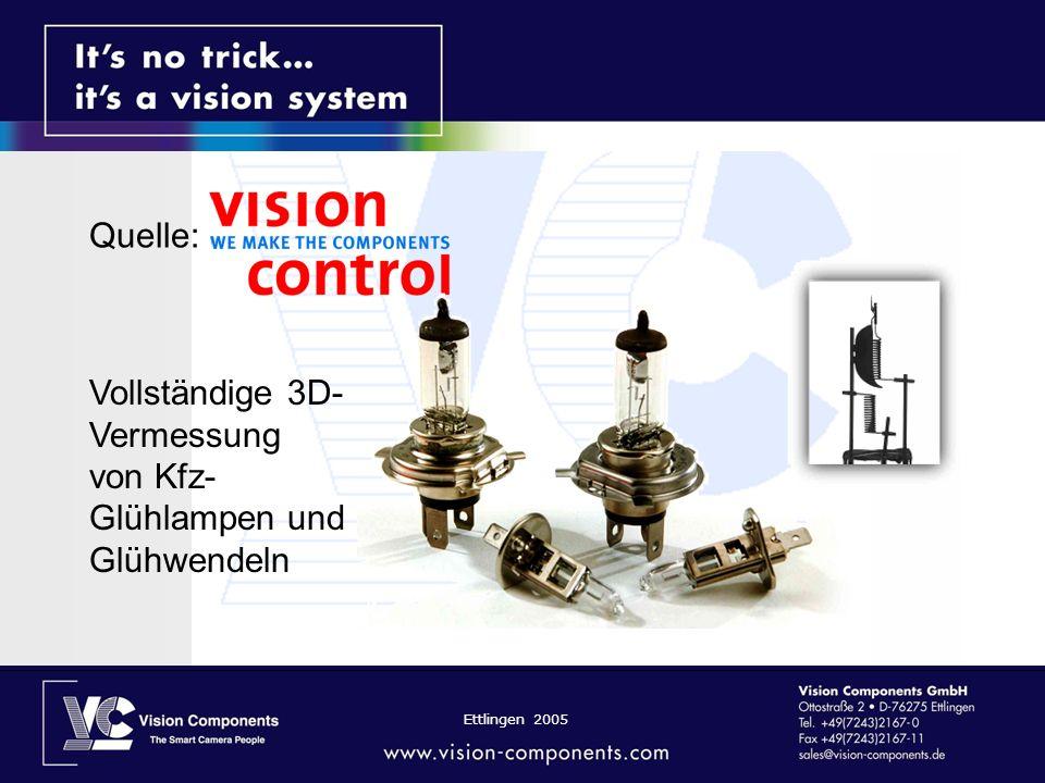Ettlingen 2005 Quelle: Vollständige 3D- Vermessung von Kfz- Glühlampen und Glühwendeln