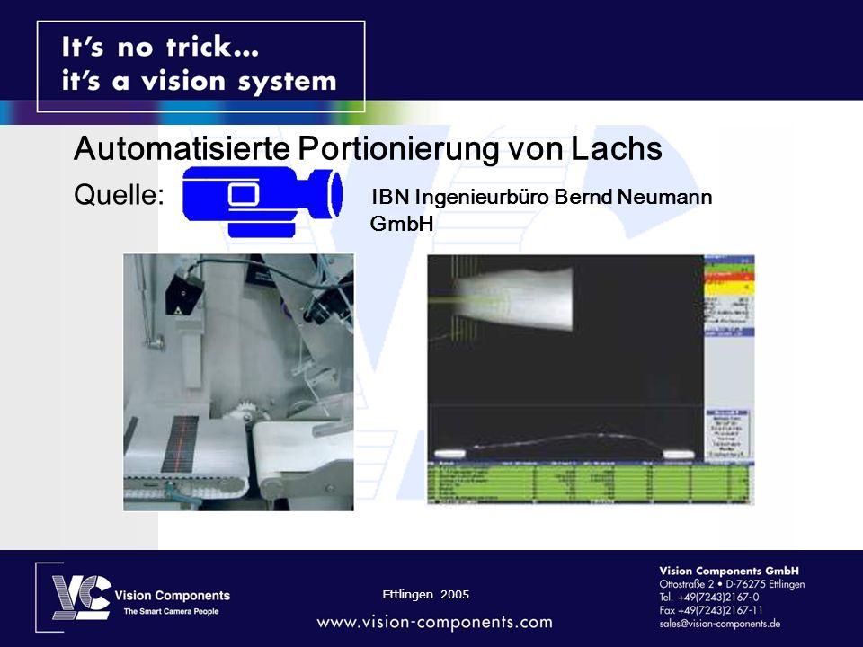 Ettlingen 2005 Automatisierte Portionierung von Lachs Quelle: IBN Ingenieurbüro Bernd Neumann GmbH