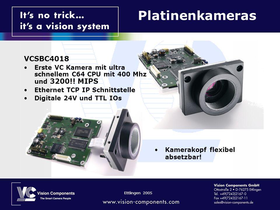 Ettlingen 2005 VCSBC4018 Erste VC Kamera mit ultra schnellem C64 CPU mit 400 Mhz und 3200!! MIPS Ethernet TCP IP Schnittstelle Digitale 24V und TTL IO