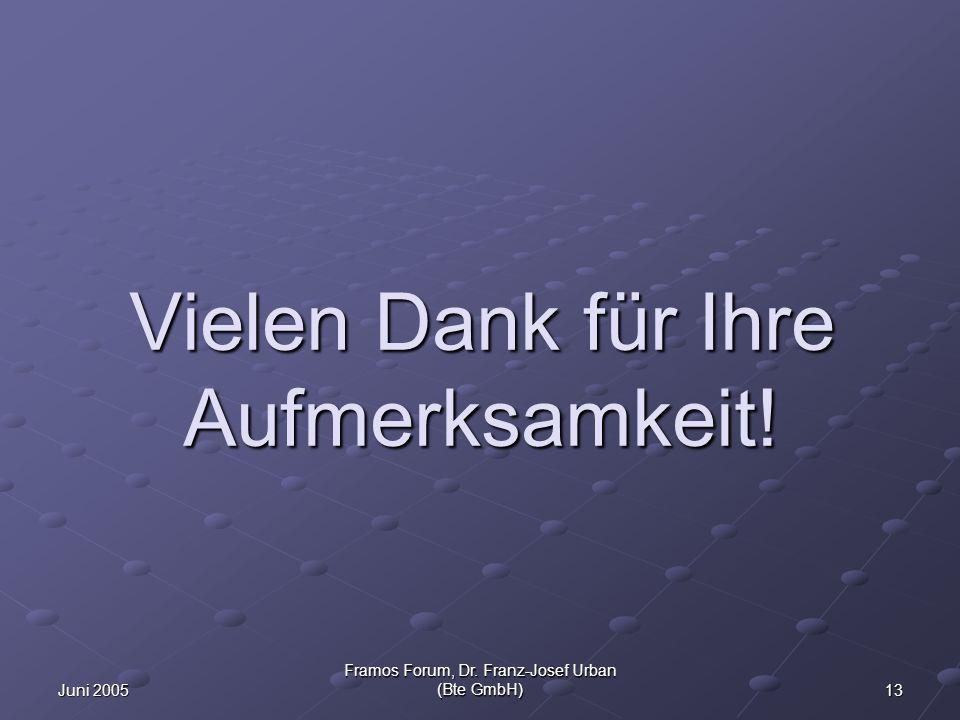 13Juni 2005 Framos Forum, Dr. Franz-Josef Urban (Bte GmbH) Vielen Dank für Ihre Aufmerksamkeit!