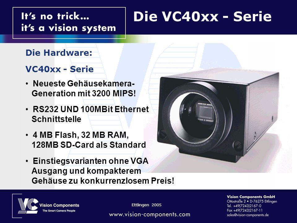 Ettlingen 2005 Die VC40xx - Serie Die Hardware: VC40xx - Serie Neueste Gehäusekamera- Generation mit 3200 MIPS.