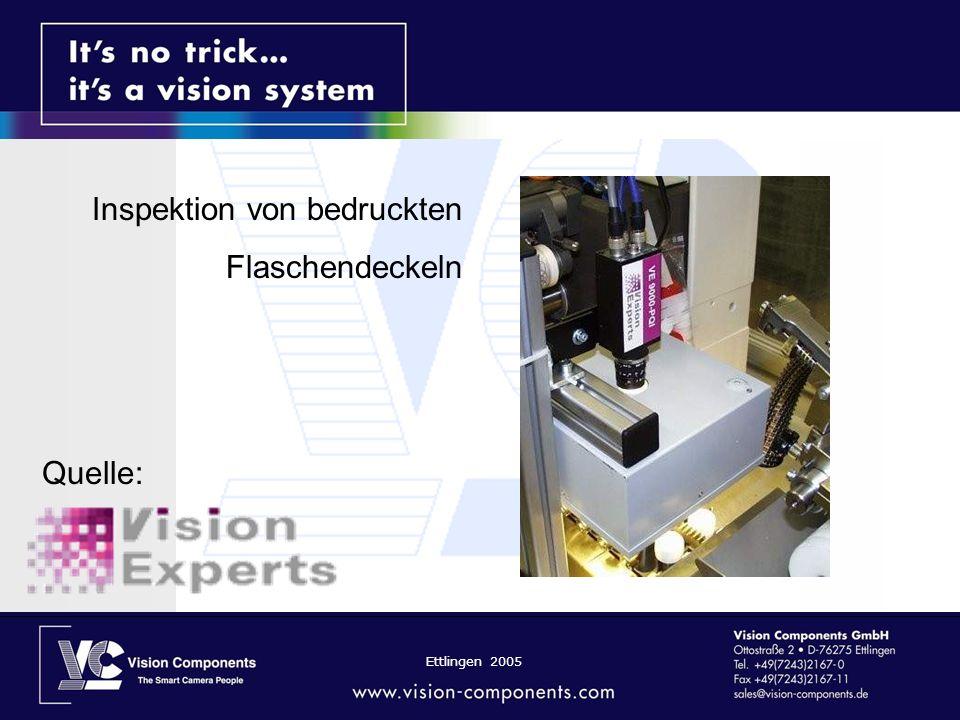 Ettlingen 2005 Inspektion von bedruckten Flaschendeckeln Quelle: