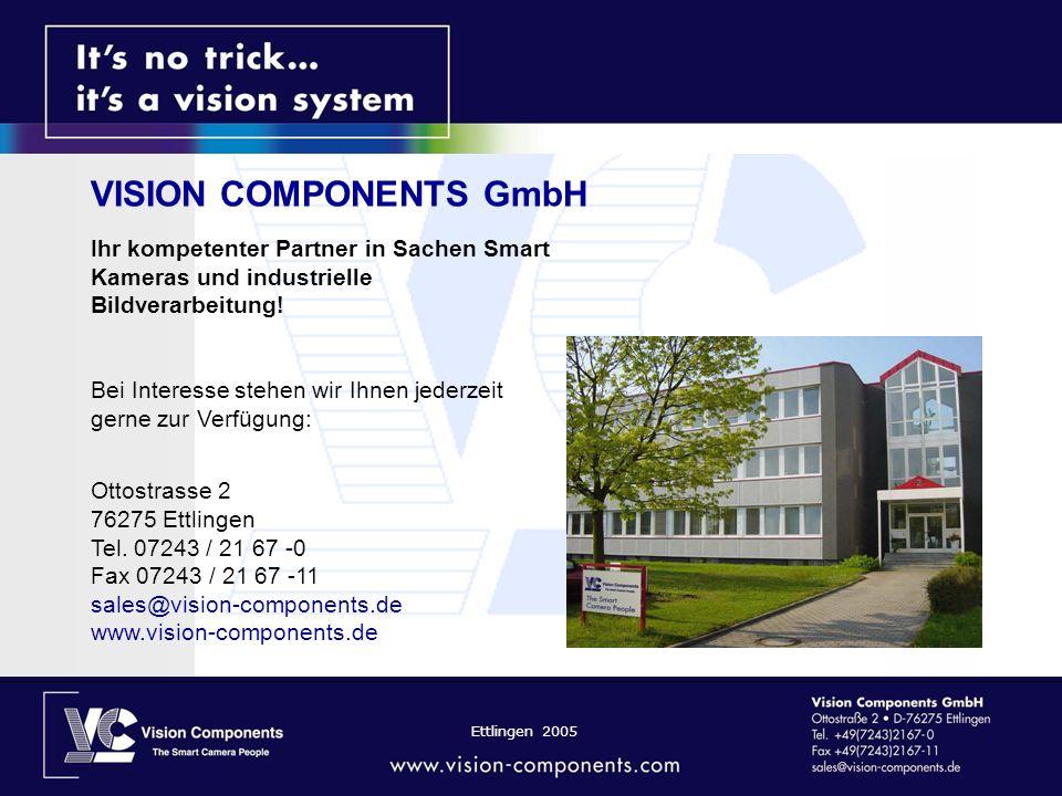 Ettlingen 2005 Ihr kompetenter Partner in Sachen Smart Kameras und industrielle Bildverarbeitung.