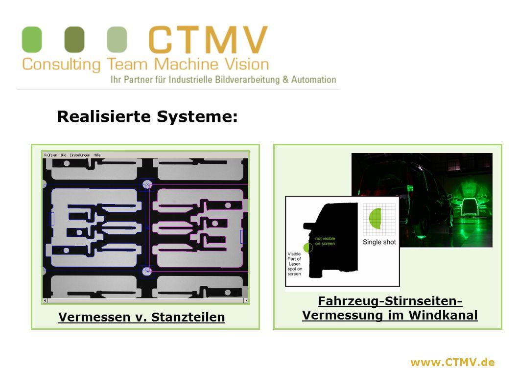 Realisierte Systeme: Vermessen v. Stanzteilen Fahrzeug-Stirnseiten- Vermessung im Windkanal