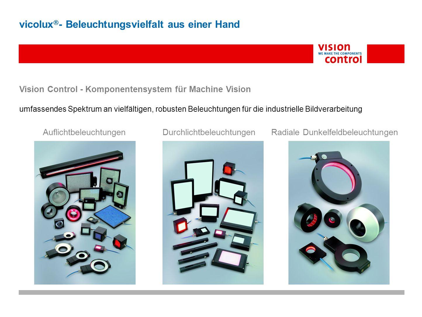 Vision Control - Komponentensystem für Machine Vision umfassendes Spektrum an vielfältigen, robusten Beleuchtungen für die industrielle Bildverarbeitu