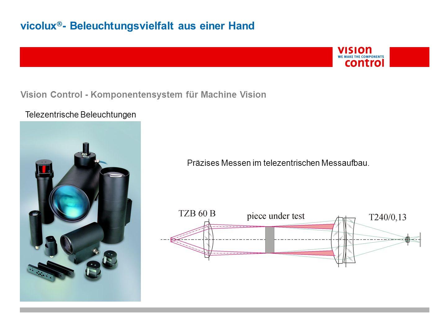 Vision Control - Komponentensystem für Machine Vision Telezentrische Beleuchtungen vicolux - Beleuchtungsvielfalt aus einer Hand Präzises Messen im te