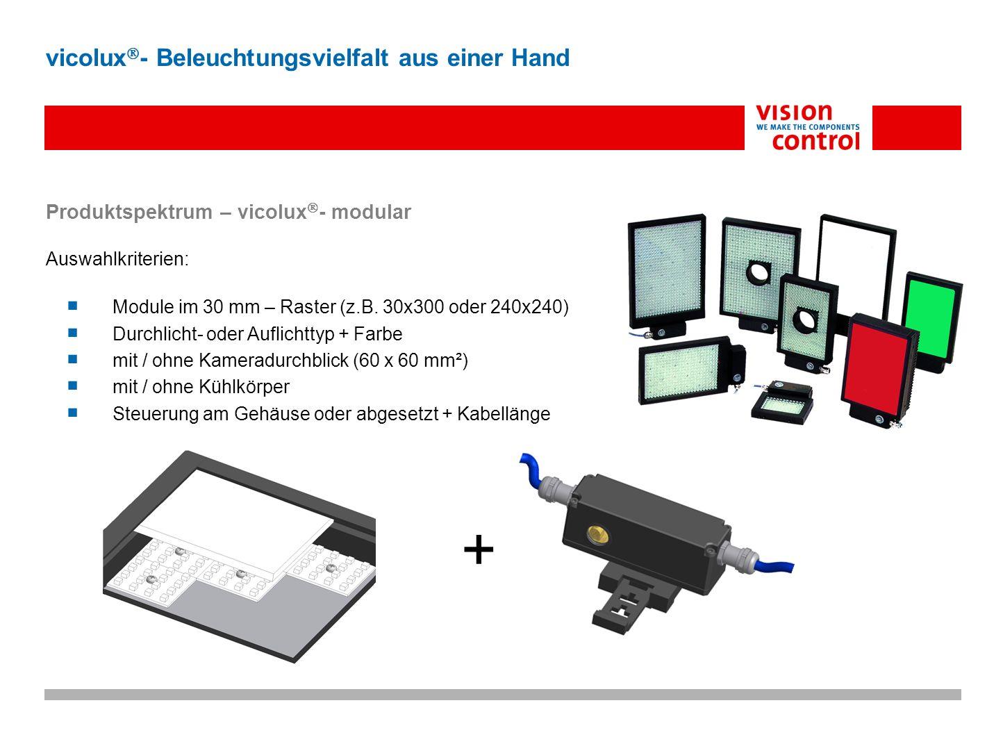 Produktspektrum – vicolux - modular Auswahlkriterien: Module im 30 mm – Raster (z.B. 30x300 oder 240x240) Durchlicht- oder Auflichttyp + Farbe mit / o